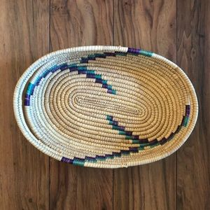 Vintage African Coil Oval Basket Tray Wall Decor